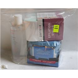 BAG W/ MAKE UP REMOVES AND WAXING STRIPS.
