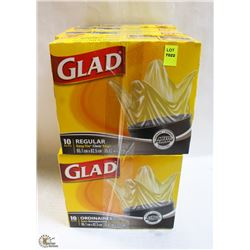8 BOXES OF GLAD GARBAGE BAGS