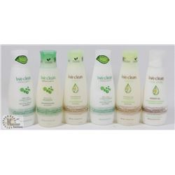 BAG OF ASSORTED LIVE CLEAN SHAMPOOS AND