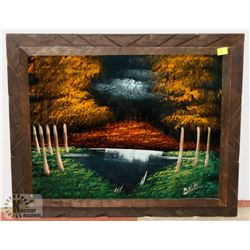 VINTAGE WOOD FRAME PAINTED VELVET WALL ART