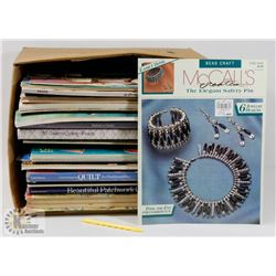 BOX OF CRAFTING BOOKS AND PROJECTS