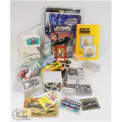 BOX OF COLLECTIBLES INCL HOCKEY CARDS, NASCAR