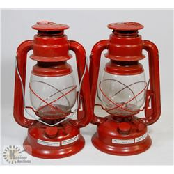 PAIR OF RED CANDLE LANTERNS