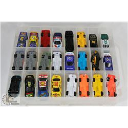 LOT OF RACING CHAMPIONS COLLECTIBLE CARS IN CASE.