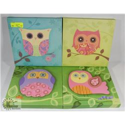 SET OF 4 OWL PRINTS