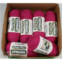 FLAT OF 6 LARGE BALLS OF BERNAT 4 PLY YARN ROSE