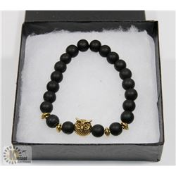 NEW! OWL NATURAL STONE BEADS BRACELET