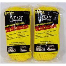 "NEW! LOT OF 2 HOLLOW BRAID POLY ROPE ¼"" x 50'"