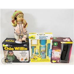 FLAT OF ITEMS INCLUDING SHIA WILLIE, PLAY SHAVE