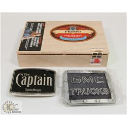 CIGAR BOX WITH GMC & CAPTAIN MORGAN BELT BUCKLE.