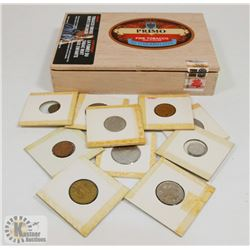 CIGAR BOX WITH TEN OLD WORLD COINS.