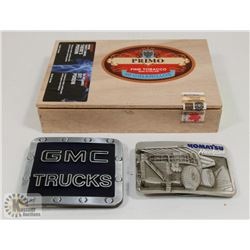 CIGAR BOX WITH GMC & KOMATSU BELT BUCKLES.