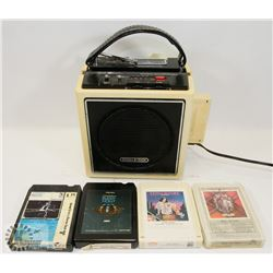 SEARS 8-TRACK AM/FM PLAYER WITH TAPES