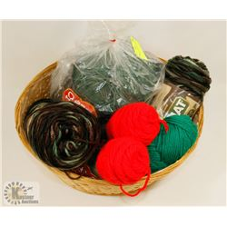 BASKET WITH ASSORTED COLOR YARN