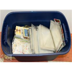 LARGE BIN OF PHOTO POSTCARDS, PHOTO PAGES, STAMPS