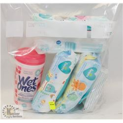 BAG OF ASSORTED WET WIPES