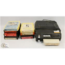 8 TRACK VEHICLE CAR PLAYER AND 8 TRACK CASSETTES