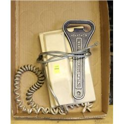 VINTAGE TELEPHONE AND LARGE CAST METAL OPENER