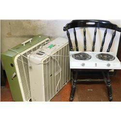 2 LARGE FLOOR FANSM, WOOD CHAIR & ELECTRIC COOKER