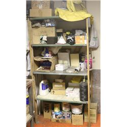 4 TIER SHELVING UNIT WITH MISC CONTENTS