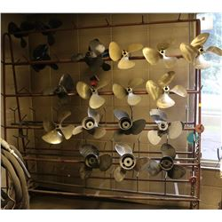LARGE ROLLING METAL RACK W/ASSORTMENT OF PROPELLER