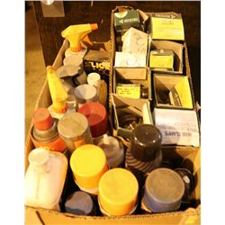 BOX OF ASSORTED SPRAY PAINTS & MORE