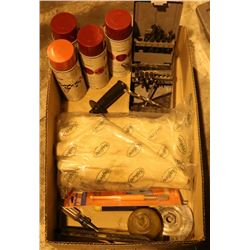MISC LOT: INCLUDES ENAMEL PAINT, DRILL BITS, HAND