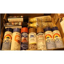 FLAT OF ASSORTED SPRAY PAINTS