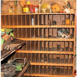 SHELF WITH CONTENTS, INCLUDES NUTS, BOLTS,