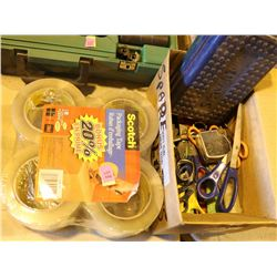8 ROLLS OF CLEAR PACKING TAPE & BOX OF ASSORTED