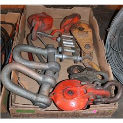 FLAT OF ASSORTED CHAIN HOISTS & MORE