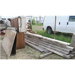 LOT OF MISC WOOD PLANKS, COUNTER & PLYWOOD