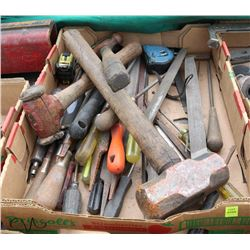 LOT OF VARIOUS HAND TOOLS, INCLUDES FILES, HAMMERS