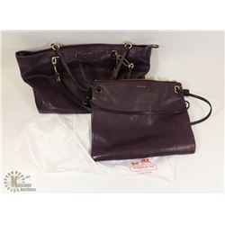 SET OF TWO PURPLE AUTHENTIC COACH BAGS, MATCHING