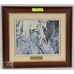 ROBERT BATEMAN BARRED OWL FRAMED PICTURE