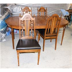 "VINTAGE TABLE (74""X42""X30"") WITH LEAF AND 4 CHAIRS"