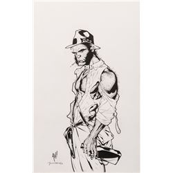 "Adam Hughes and Tim Townsend signed original ""Wolverine"" as ""Indiana Jones"" illustration."