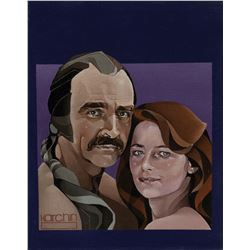 Steve Karchin signed cover art of Sean Connery and Charlotte Rampling in Zardoz for Cinefantastique.