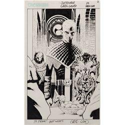 Greg Land signed original Sojourn #10 interior splash page inscribed to Frank Darabont.