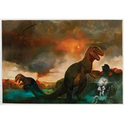Sanjulián signed original cover painting for the Bantam edition of Dinosaur Tales by Ray Bradbury.