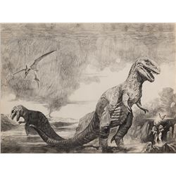 Sanjulián signed original pencil rough for the Dinosaur Tales by Ray Bradbury cover painting.