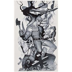 Christopher Stevens signed original illustration for The Goon Vol. 10: Death's Greedy Comeuppance.