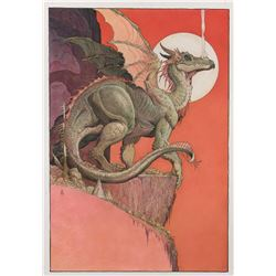 William Stout signed original poster art painting for Dragons: A Fantasy Made Real.
