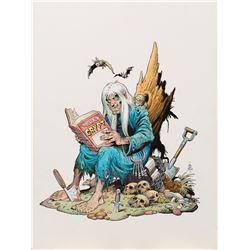 "William Stout signed original artwork of EC Comics host ""The Crypt Keeper"" for a porcelain figure."