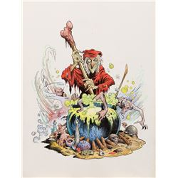 """William Stout signed original artwork of EC Comics host """"The Old Witch"""" for a porcelain figure."""
