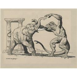 """William Stout signed original artwork of Ray Harryhausen's """"Ymir"""" from 20 Million Miles to Earth."""