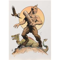 """William Stout signed artwork of Ray Harryhausen's """"Cyclops"""" from The Seventh Voyage of Sinbad."""