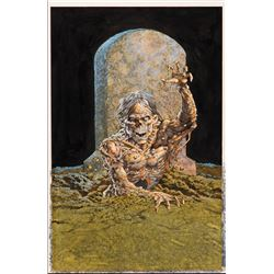 Bernie Wrightson signed painting for Bernie Wrightson: Master of the Macabre trading card set box.