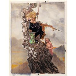 """Bernie Wrightson signed original """"Council to a Minion"""" published poster art painting."""