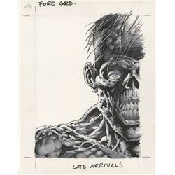 """Bernie Wrightson signed """"Late Arrivals"""" triptych used to composite a holographic trading card."""